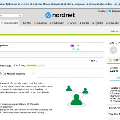 Nordnet startvy, inloggad
