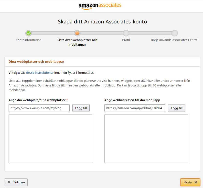 Skapa konto på Amazon steg 2